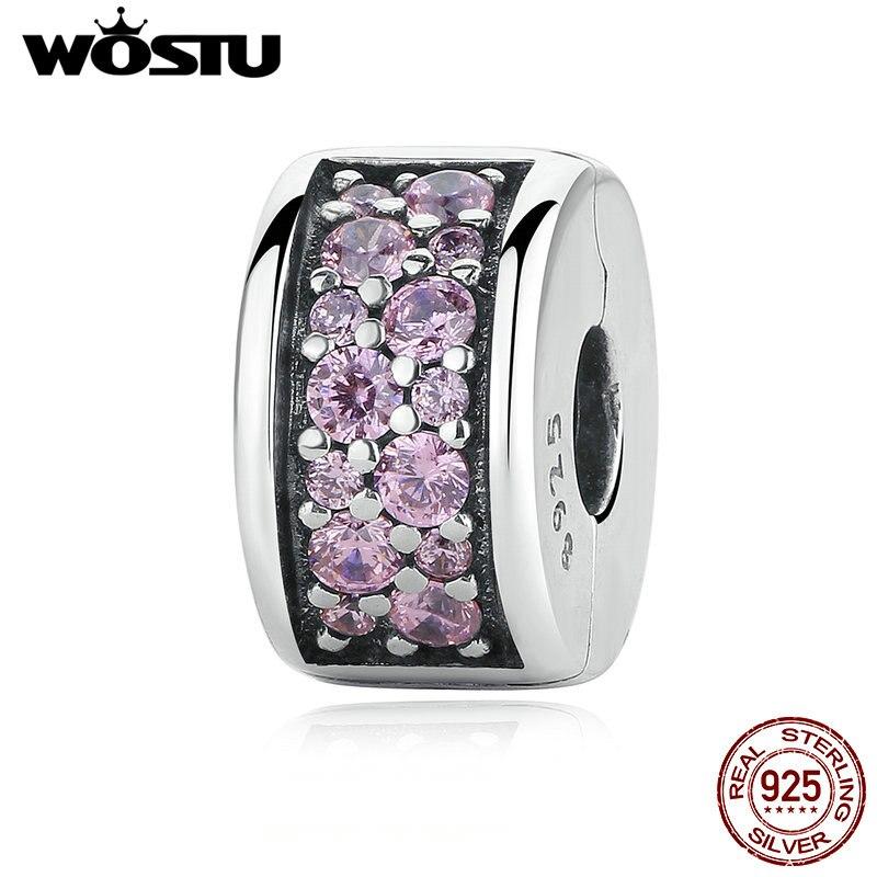 WOSTU 100% 925 argent Sterling brillant élégance pince breloque avec rose CZ ajustement Original wst Bracelet pendentif bijoux authentiques