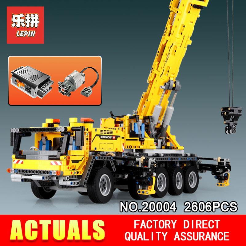 2606pcs Lepin 20004 Technic series Motor power mobile crane MK Model Building blocks Bricks Compatible 42009