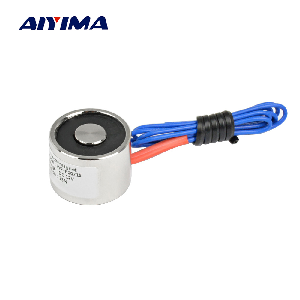 Aiyima 20/15 Suction 2.5KG 25N mini electromagnet solenoid 6V/12v/24V electric magnet 20*15mm small electro magnet 20 x 15mm dc electro holding magnet blue silver black 22cm cable