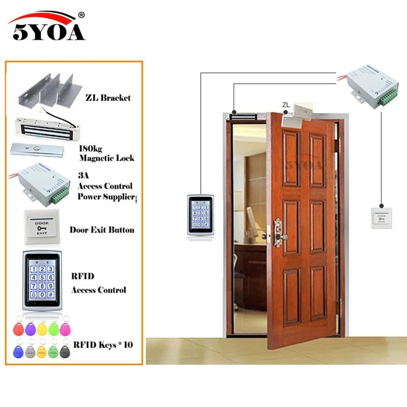 鉄 RFID アクセス制御システムスマートドアロック安全キット電子ゲートオープナーホームガレージデジタルセット Eletric 磁気  グループ上の セキュリティ & プロテクション からの アクセスコントロール キット の中 2