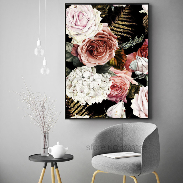 Noble Flower Classic Roses Cuadros Decoracion Love Wall Art 1