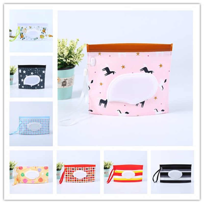 Outdoor travel baby newborn kids wet wipes bag towel box clean carrying cas PL