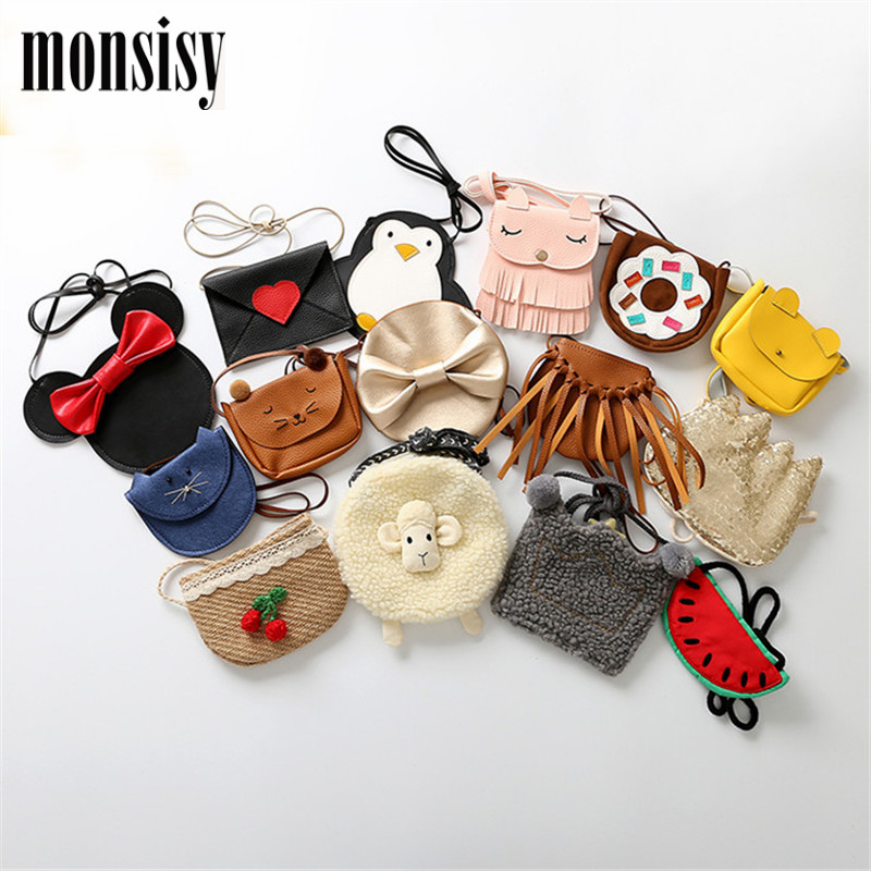 Monsisy Girl Coin Purse Children's Wallet Small Change Purse Kid Bag Coin Pouch Cat/Fox/Bear/Penguin/Mouse/Sheep Baby Handbag цена