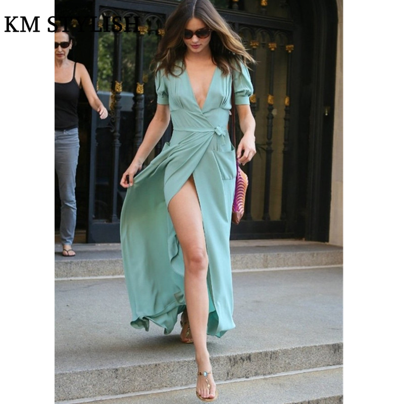 Здесь продается  European 2018 Summer Miranda Kerr same style Summer women Beach dress slit chiffon dress Mint Green  Одежда и аксессуары