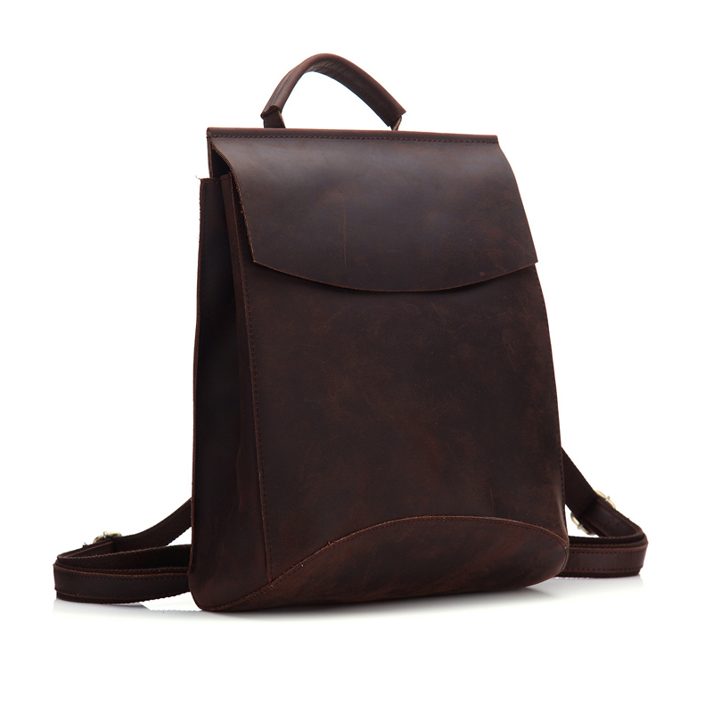 b46080f15d35 100% genuine leather backpack men women leather laptop rucksack higt  quality vintage crazy horse girl school backpacks bags -in School Bags from  Luggage ...