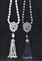 X0603 White & Black Rice Pearl Necklace Lion CZ Pave Pendant & tassels 24inch