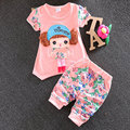 Summer infant baby girls clothes set short-sleeved sprint suit 2016 Korean baby girls child casual sport tops+pant clothing sets