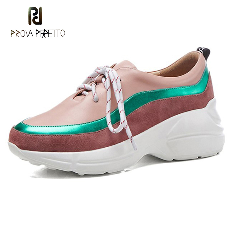 Prova Perfetto women flat platform shoes genuine leather patchwork sneakers 2018 new round toe lace up student girl causal shoes prova perfetto 2018 fashion sexy red mouth casual shoes women lace up platform patent leather round toe shoes pink black females