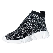 Platform Sneakers Women Knitted Shoes Woman Running Sport Breathable Blingbling Rhinestone