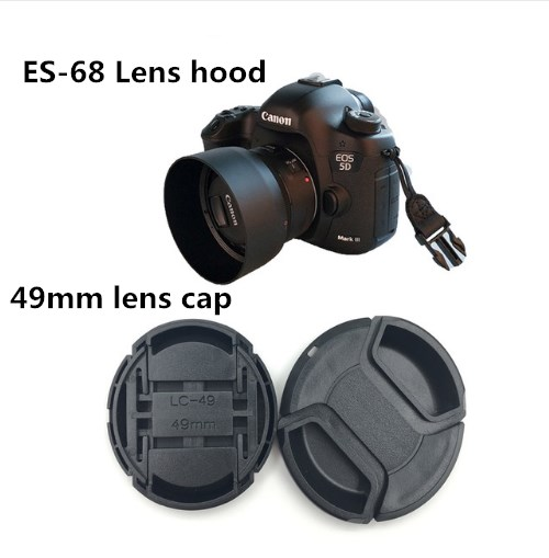 2 in 1 ES-68 Camera Lens Hood+49MM lens cap for Canon EOS EF 50mm f/1.8 STM 49mm lens protector brand new hot sale image