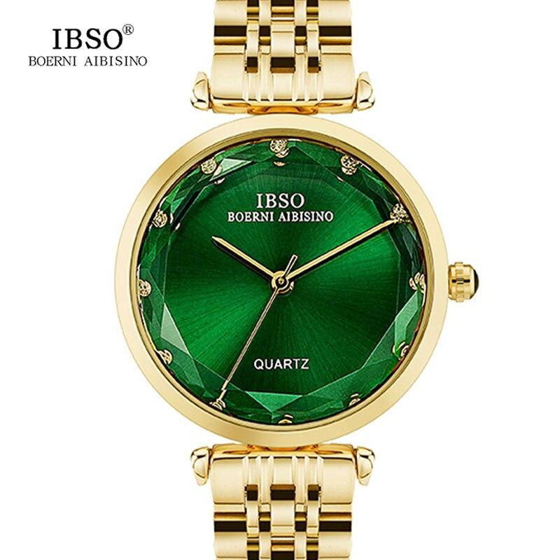 IBSO Brand Luxury 2017 Quartz Gold Watch Women Stainless Steel Band Diamond Ladies Watches Fashion Montre Femme 2016 women diamond watches steel band vintage bracelet watch high quality ladies quartz watch