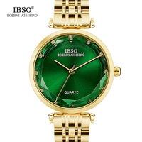IBSO Luxury Gold Watch Women Stainless Steel Wristwatch Ladies Clock Fashion Bracelet Watches 2018 Relogio Feminino