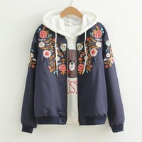 Flowers Embroidery Long Sleeve Gothic Black Vintage Zipper Jacket Mori Girl