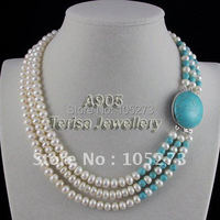 New Free Shipping A905# Grade AA 7 8MM 3Rows Length 43 48CM Fashion Clasp Blue Turquoises Fresh Water Pearls Necklace