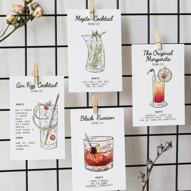 30Sheets Pack Drunk Life Cocktail Greeting Card Postcard Birthday Gift Set Message Letter