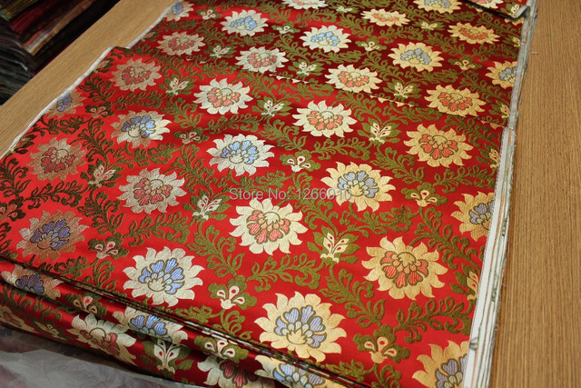 e7d308f9a chinese silk brocade woven damask fabric cheongsam cushion red back with red  blue gold lotus flowers