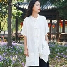 中国スタイルのロングシャツ女性リネンヴィンテージ夏ロングシャツブラウス 新固体黒、白シャツトップス b259 OriGoods