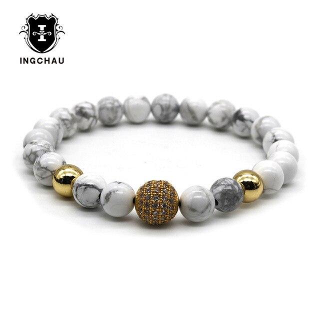 Fashion Cubic Zirconia Gold Color Disco Ball Bracelet Men White Stone Beaded Bracelets Pulseiras Dk