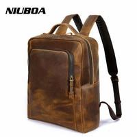 NIUBOA Genuine Leather Backpack Outside Pack Bags Men Crazy Horse Top Quality 100% Cowhide Backpack Shoulder Personalized Bag
