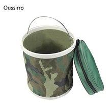13L Multifunctional Portable Folding Bucket Fishing Bucket Camouflage Outdoor Water Bucket Camouflage Bucket 27.5cm*24cm