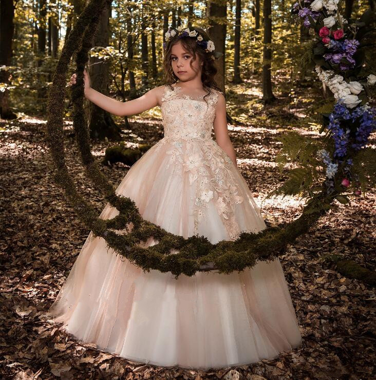 Elegant Lace O Neck Flower Girl Dress First Communion White Ivory Champagne Girls Children Gown Elegant Dresses new boho white lace flower girl dress a line o neck girls first communion dress pageant gown any size