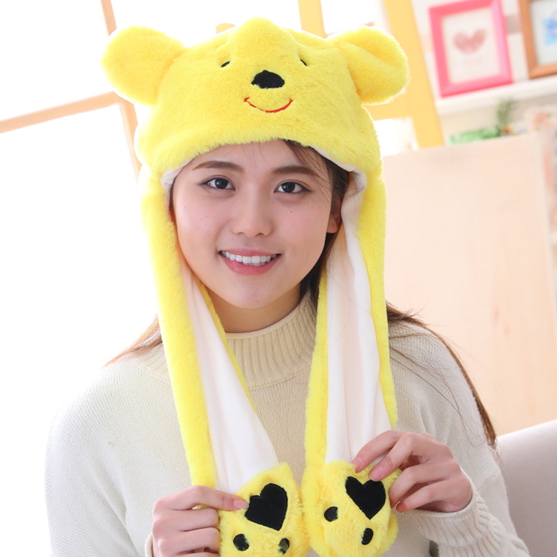 Cartoon Animal Moving Ear Rabbit Hat Moving Ears Kawaii Funny Cute Toy Hat Airbag Toy Cap Kids Plush Toy Birthday Christmas Gift