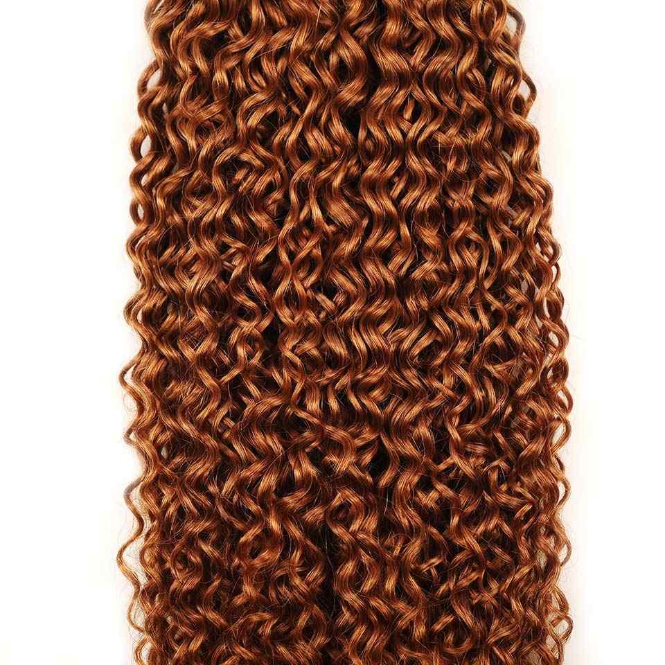 4 Bundles Malaysische Haar Verworrene Lockige Menschenhaar Honig Blonde 30# Farbige 100 Menschliche Haarwebart Bundles Pinshair Remy Haar bundles