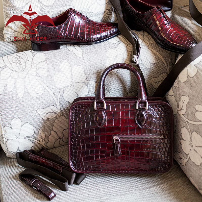 Party Shaker Cro Leather Bag Men   Women Genuine Leather Crocodile Leather  Handbag Designer Custom Bag Burgundy Color 24x17x7CM-in Briefcases from  Luggage ... 14b7a39d4d619