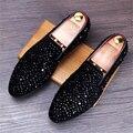 Cuero genuino 2017 de los hombres Europeos de pie casual zapatos del holgazán de moda para jóvenes hombres bajos planos de diamante zapatos de negocios negro ee.uu. tamaño 9