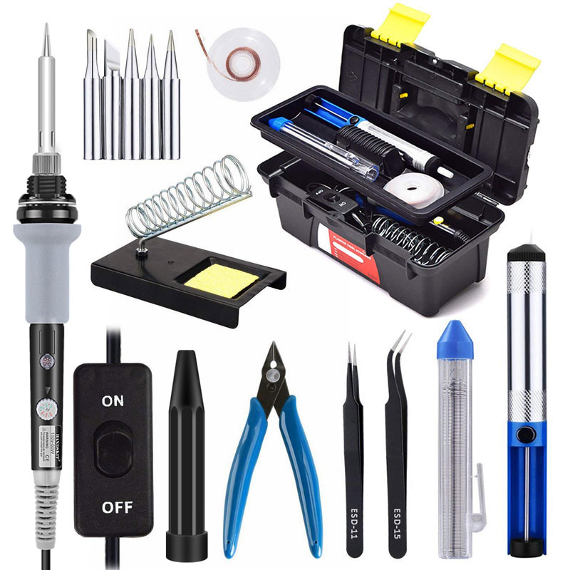 High Quality 15 in 1 Electric Soldering Iron Kit 60W Adjustable Temperature Welding Soldering Iron kit  Tips Welding Repair ToolHigh Quality 15 in 1 Electric Soldering Iron Kit 60W Adjustable Temperature Welding Soldering Iron kit  Tips Welding Repair Tool