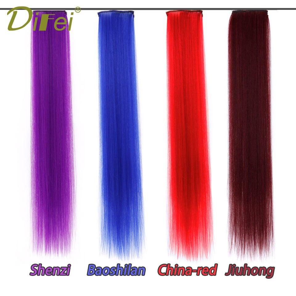DIFEI 16 Цвета 24 дюймов один клип в Одна деталь Наращивание волос Синтетические длинные прямые Ombre серый русый красный части волос ...