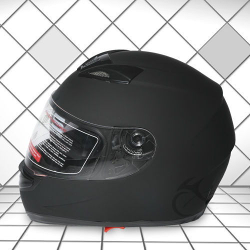 DOT Adult Matte Black Dual Visor Full Face Street Sport Motorcycle Helmet M L XL