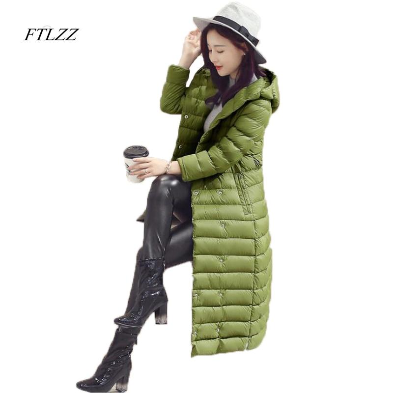 FTLZZ New Winter Women Duck Down Jacket Long Design Slim Fashion Snow Wear Ultra Light Parkas Elegant Overcoat Casual Jacket