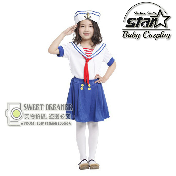 Children Halloween Party Cosplay Cute Seawoman Navy Blue Sailor Dress Costume for Kids Girls Fancy Dress Military Uniform devil may cry 4 dante cosplay wig halloween party cosplay wigs free shipping