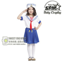 Children Halloween Party Cosplay Cute Seawoman Navy Blue Sailor Dress Costume for Kids Girls Fancy Dress