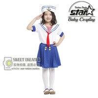 Kinder Halloween Party Cosplay Nette Seawoman Marineblau Sailor Kleid Kostüm für Kinder Mädchen Phantasie Kleid Uniform