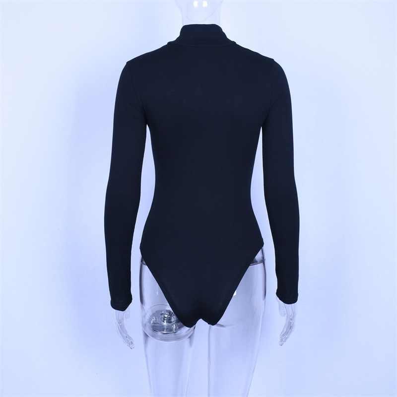 Criptografia Ocasional gola bodysuit corpo trecho sólida bodycon bodysuits macacões de manga longa para as mulheres 2018 outono inverno