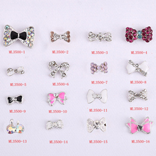 wholesale 100PCS/Lot nail accessories beauty rhinestone bowknot 3d art Alloy 3D Nail Art Decoration, nails decal Charms