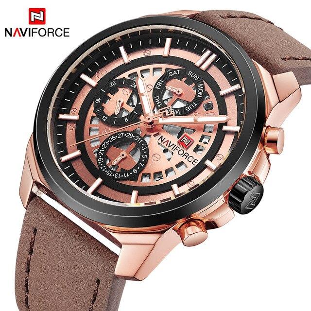 NAVIFORCE יוקרה מותג גברים קוורץ שעונים תאריך 24 שעה שעון רצועת עור אופנה גברים ספורט שעון יד Relogio Masculino