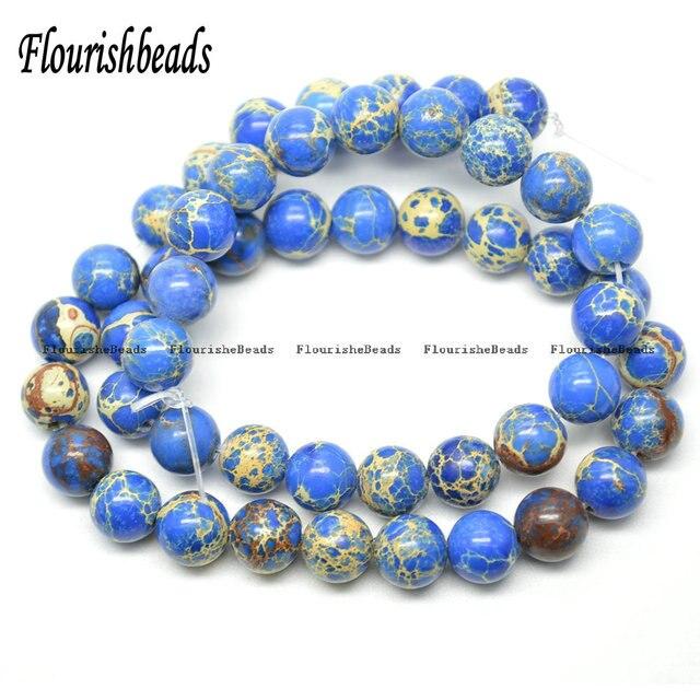 f4ef9fa66550 4mm ~ 12mm azul Color del sedimento del mar Jasper piedra redonda suelta  perlas