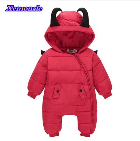 2017 Autumn winter Warm baby girl boy Snowsuit down cotton baby romper hoodies Newborn overalls clothes kids children jumpsuit