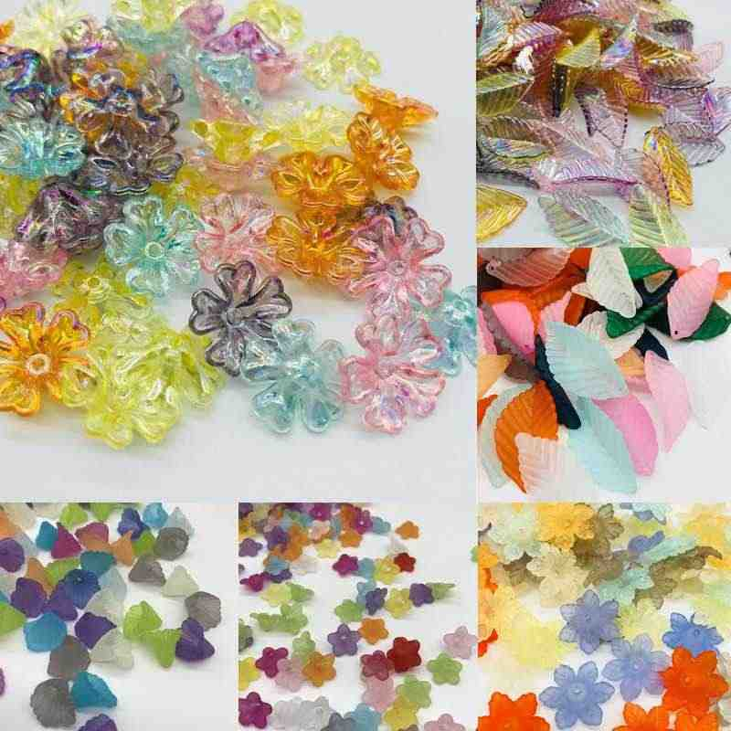 Hot 30-100Pcs/Lot Cheap Flower Acrylic Beads Candy Color Acrylic Spacer Beads DIY for Necklace Matte Hairpin Jewelry Accessoires