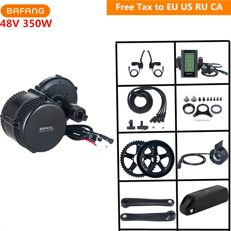 Bafang 8fun 48V 350W BBS01B Mid Drive Motor Conversion Kits C965 C961 With 48V 17AH Lithium Battery For Eletric Bicycle Kits