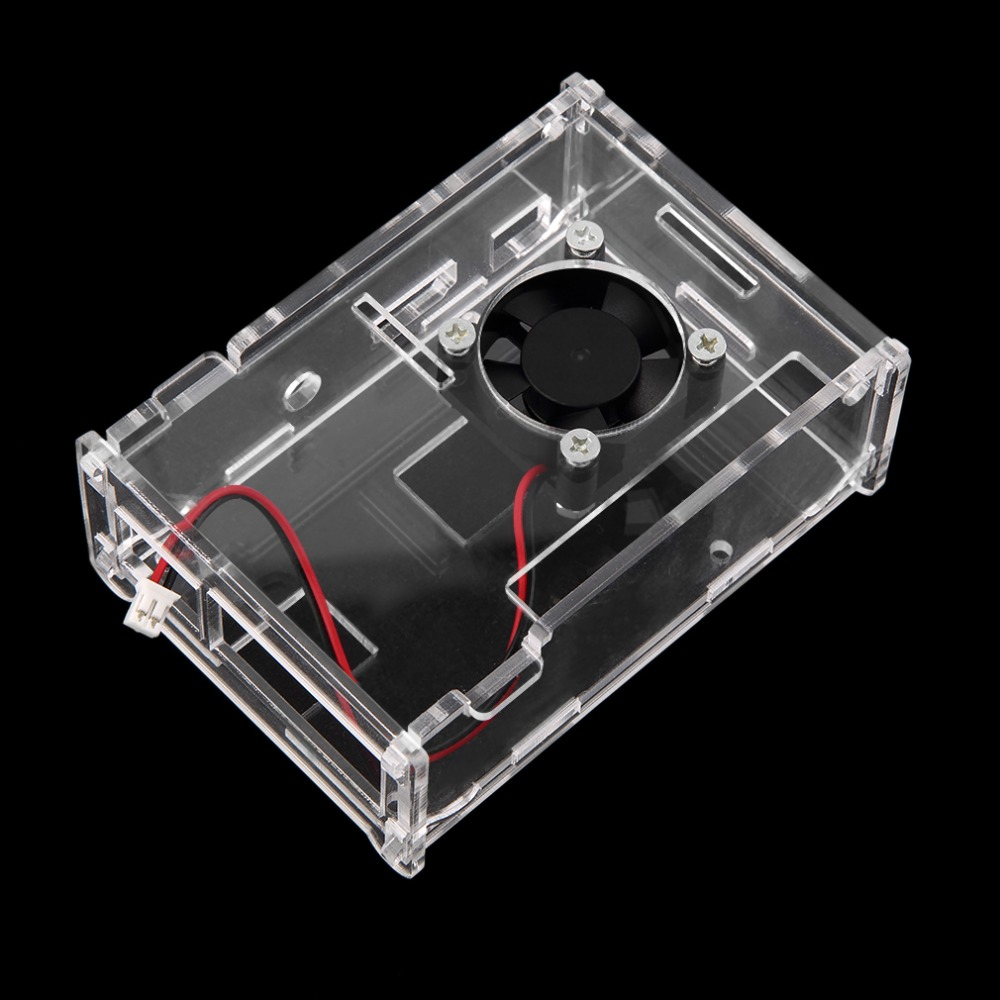 2017 New Transparent Clear Acrylic Shell Case Enclosure Box Cooling Fan for Raspberry Pi 2 Model Raspberry Pi B+ Wholesale