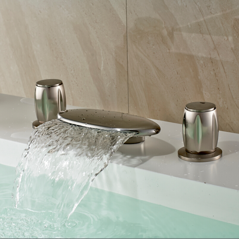 New Deck Mounted Brushed Nickel 3pcs Bathroom Vessel Sink Faucet Waterfall Bath Widespread Sink Basin Faucet