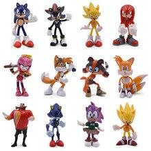 6 компл. Sonic фигурку Симпатичные Аниме бум Редкие Dr Eggman тень ПВХ Коллекционная модель кукла, подарок для девочки для детей