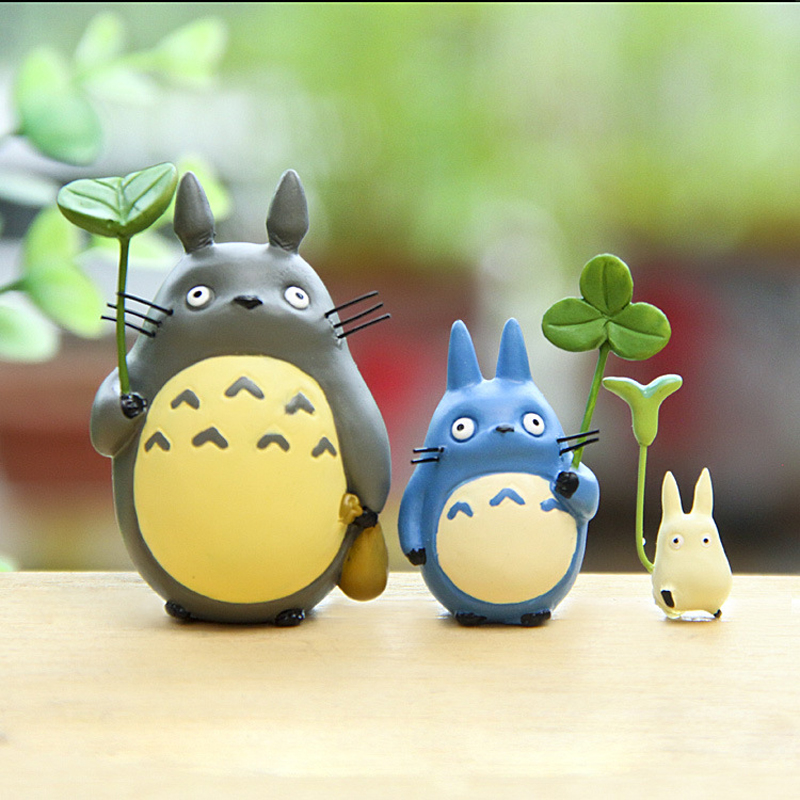 3pcs/lot Miyazaki Hayao My Neighbor Totoro PVC Cute Figures Toys Cute Totoro With Leaf Action Figure Model Toy for Kids Gift image