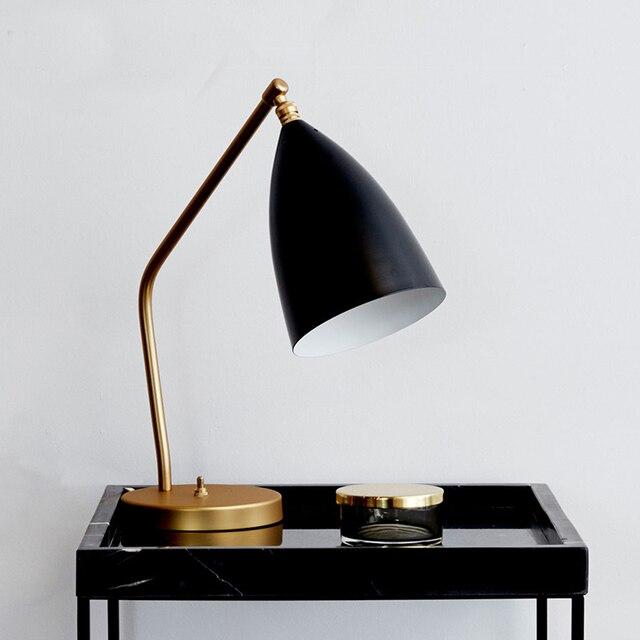 Gubi Grasshopper Nordic Copper Lamp Table Bedroom Desk Lamp Study Lamp  Modern Lampada Led Tavolo Hotel