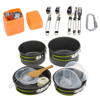 Camping Cookware Set Multifunctional 3 Persons Portable Cooking Tableware Picnic Set Outdoor Hiking Pot Pans Bowls