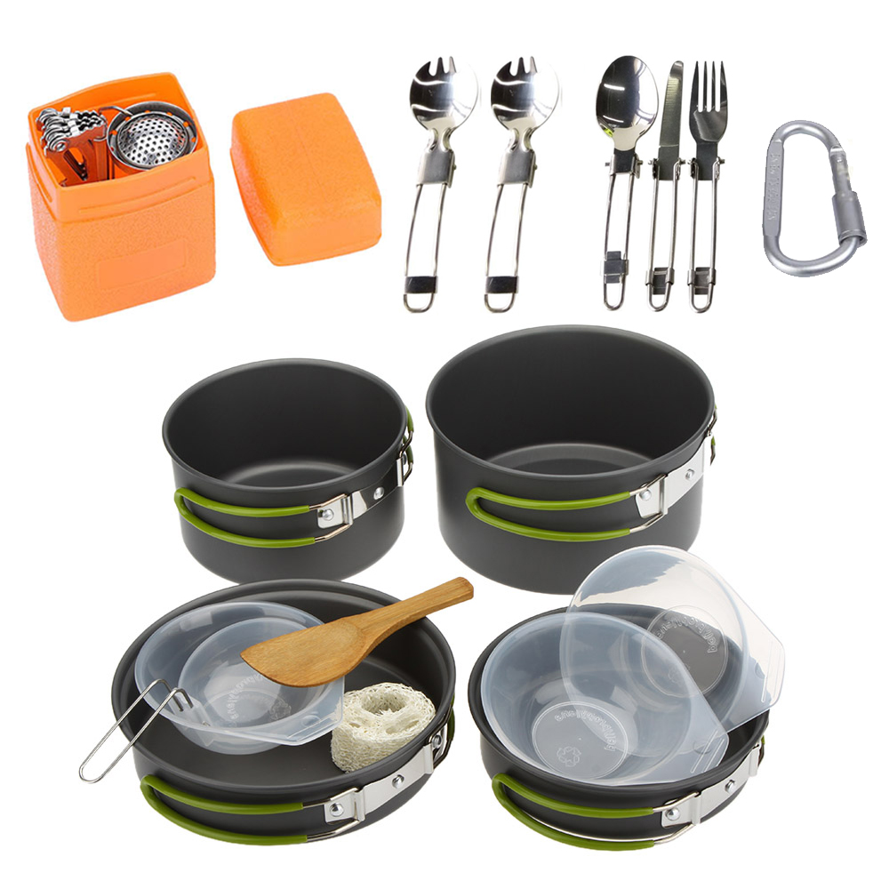 Купить Camping Cookware Set Multifunctional 3 Persons Portable Cooking Tableware Picnic Set Outdoor Hiking Pot Pans Bowls в интернет-магазине дешево